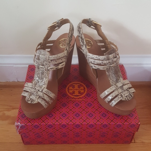 7bb2bd0319b Tory Burch 8.5 Snake Skin Leather Platform Wedges